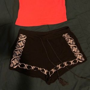 Black Flowy Embroidered Shorts